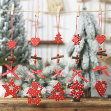 DIY Christmas Snowflakes Star Tree Wooden Pendants Ornaments Home Party Xmas Kids Gifts Decorations New Year Gift
