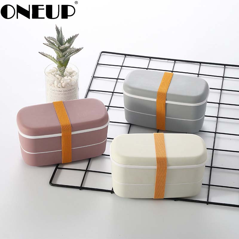 Boîte à déjeuner à 2 couches micro-ondable avec compartiments boîte à Bento étanche contenant des aliments isolés avec des baguettes
