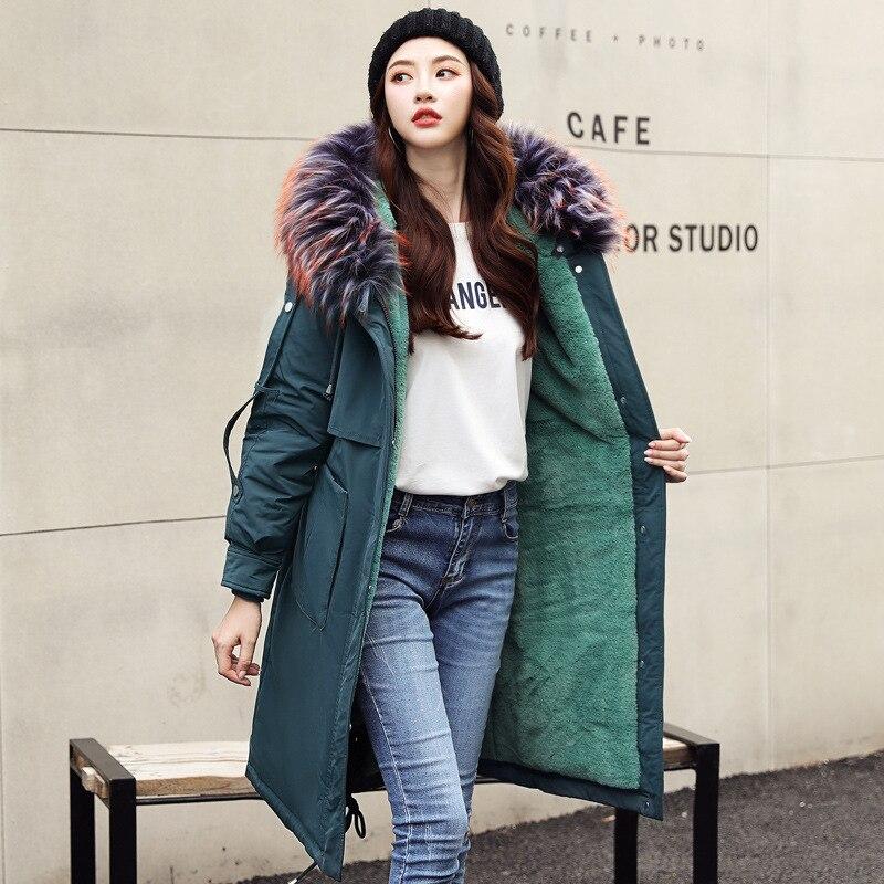 Новинка 2019 года; женская одежда в Корейском стиле; большие размеры; удлиненная одежда с хлопковой подкладкой для похудения; одежда до колена
