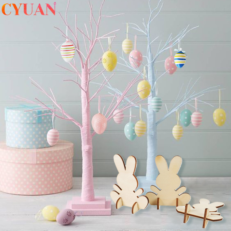 Happy Easter Decor Wooden Rabbit Craft Easter Eggs Hanging Ornaments Event & Party Supplies Easter Decorations For Home Table