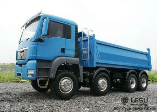 1/14 LESU MAN 8*8 RC Dumper camion châssis modèle hydraulique moteur son peint bleu TH15225