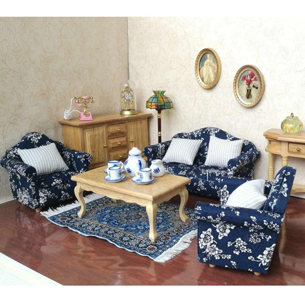 1/12 Casa di Bambole Mobili Divano del Soggiorno Poltrone Cuscini Cuscini Blu