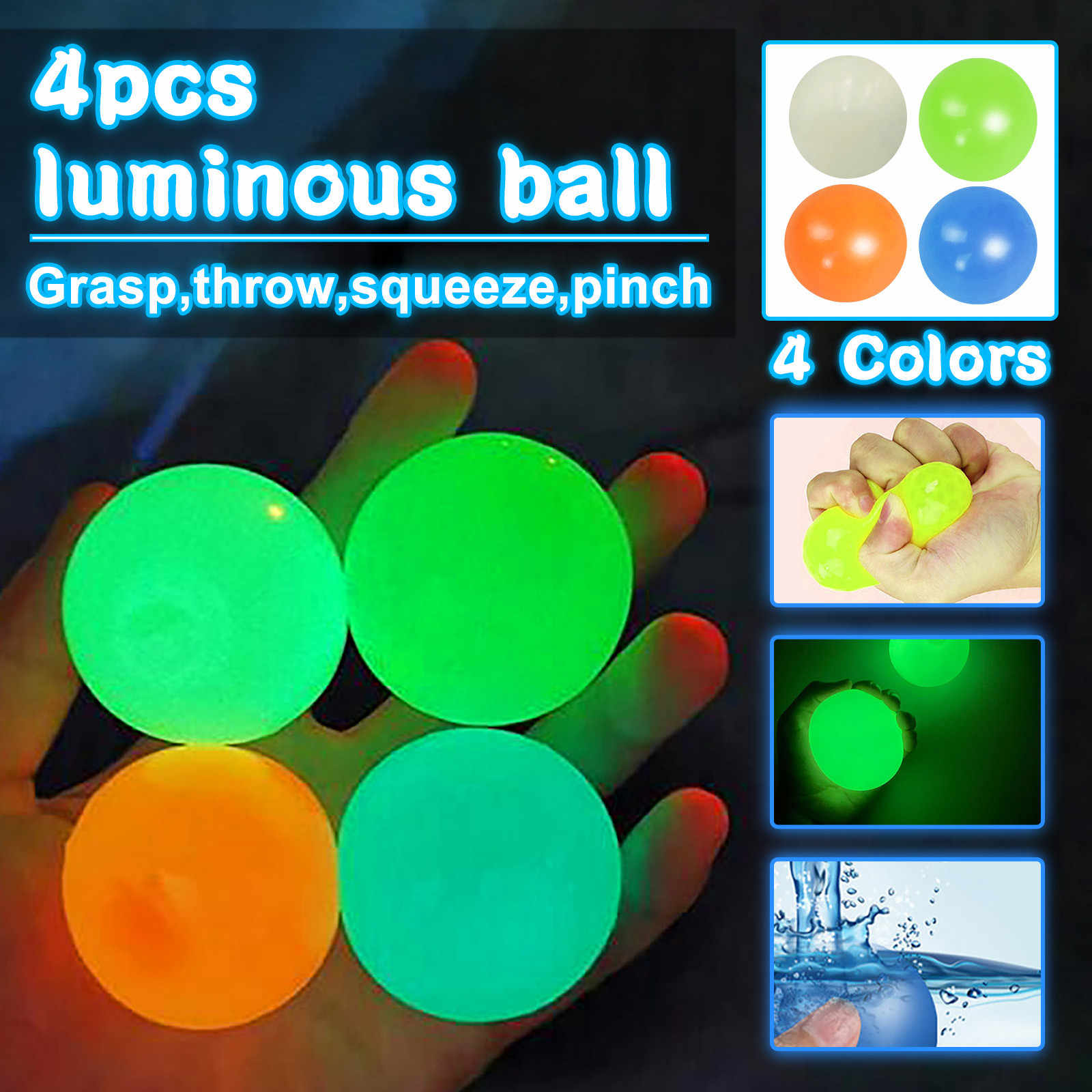 HHYSPA 4PCS Glowing Sticky Balls for Ceiling Fluorescent Sticky Target Anti Stress Reliever Balls,for Kids and Adults Tear-Resistant Fun Toy for ADHD Anxiety OCD