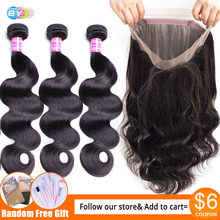 [BY] 360 Frontal With Bundles Brazilian BodyWave Bundles With Frontal Closure Human Hair Lace Frontal Closure With Bundles Remy(China)