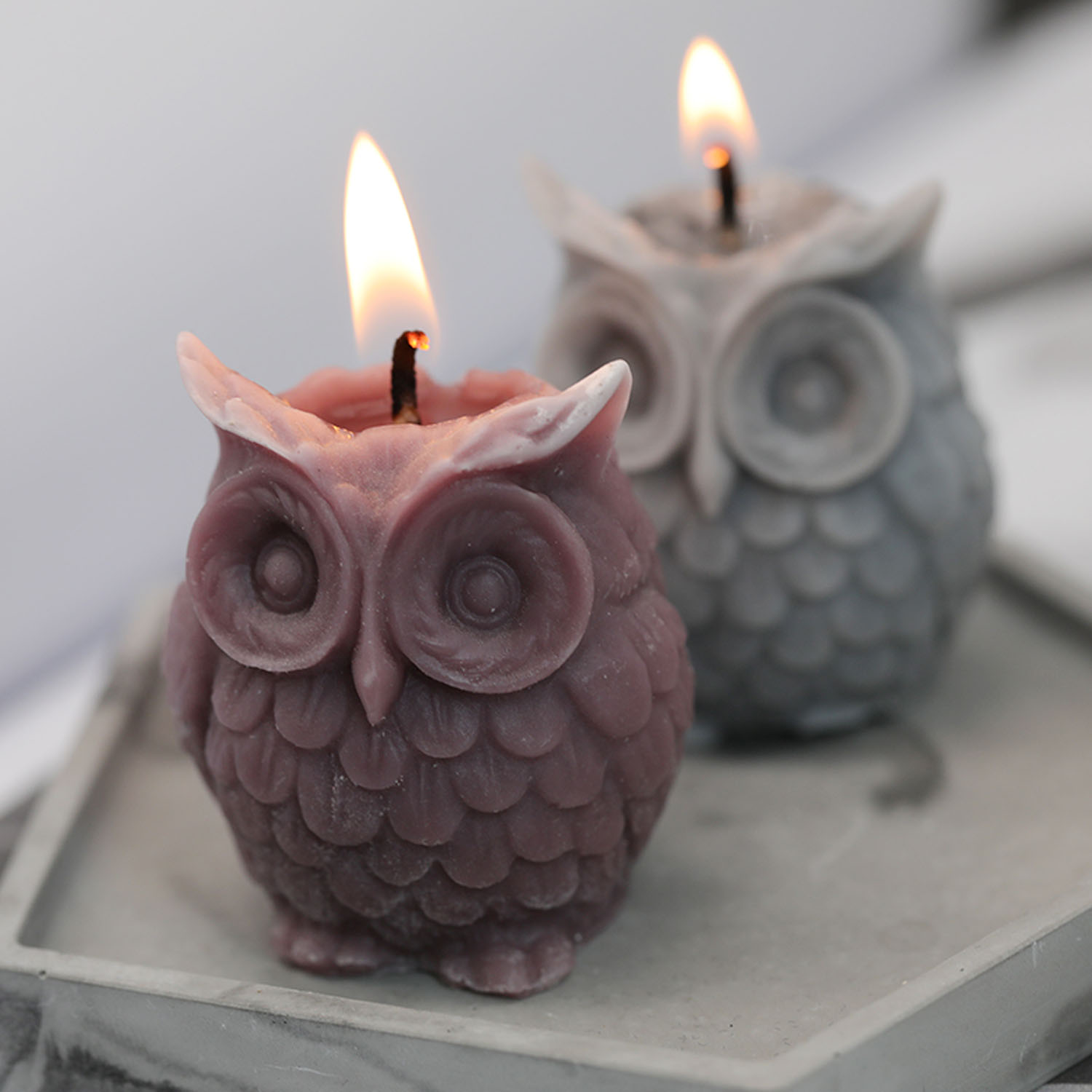 3D Owl Candle Making Mold Silicone DIY Handmade Resin Soap Pastry Cake Clay Baking Moulds For Plaster Wax Mould Decorating Tools