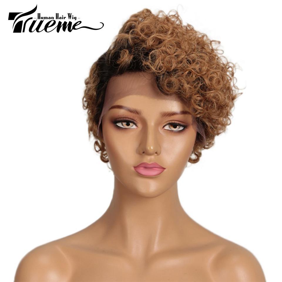 Trueme Short Curly L Part Lace Human Hair Wigs Wigs Remy Brazilian Lace Front Wigs Pixie Cut Short Wigs For Black Women
