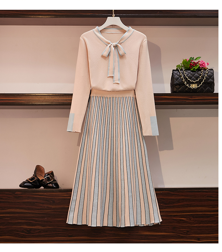 Women Bowknot Knitted Jumper Tops Sweaters +Shining Sequnied Patchwork Skirts Sets Knit Maxi Skirt 2 Pieces Sets