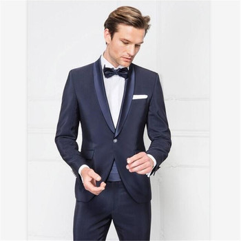 New Men's Suit Smolking Noivo Terno Slim Fit Easculino Evening Suits For Men Formal navy blue shawl lapel business blazers groom