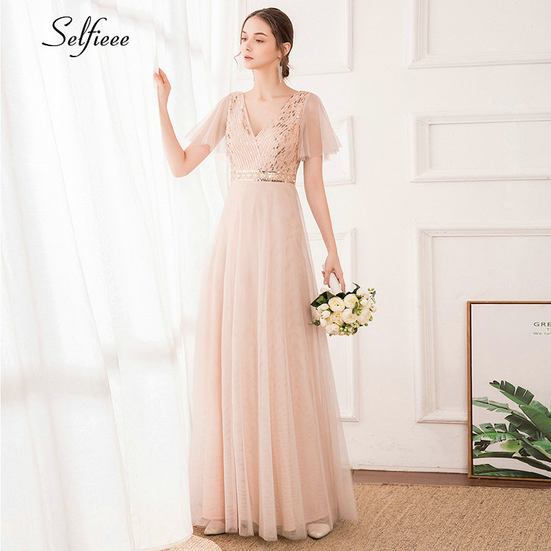 Elegant Blush Maxi Dress A-Line Double V-Neck Short Ruffles Sleeve Sequined Ruched Tulle Striped Women Dress Vestido De Festa