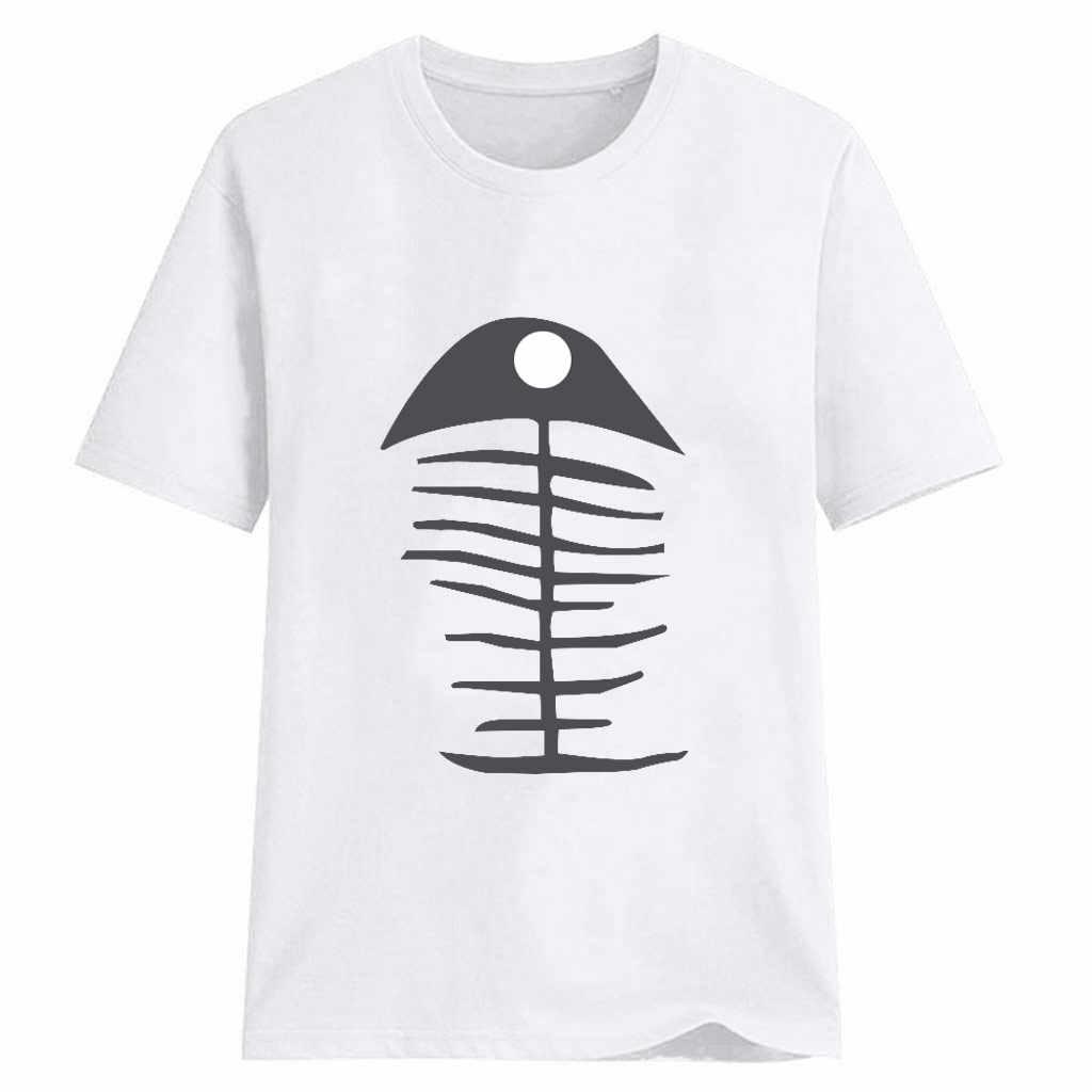 Hillbilly Harajuku Fashion Wanita T-shirt Besar Tulang Ikan Dicetak T Kemeja Korea Musim Panas Baru Leher O 90 S Atasan