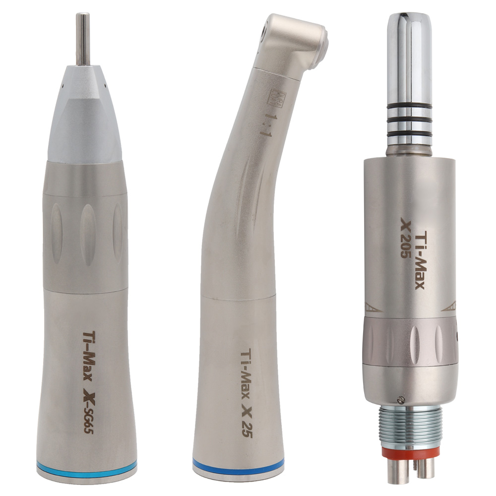 Ti-Max Style Dental Low Speed Handpiece Straight Nose Contra Angle Air Motor 2/4Holes X-SG65/X25/X205 Air Turbine