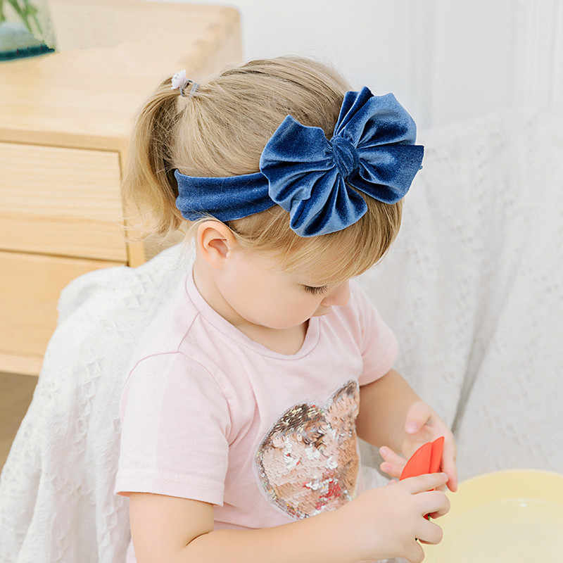 Toddle Kids Baby Girl Gold Velvet Headband Fashion Solid Cloth Bow Turban Knot Head Wrap Hairband Stretch Girls Headbands 3-12M