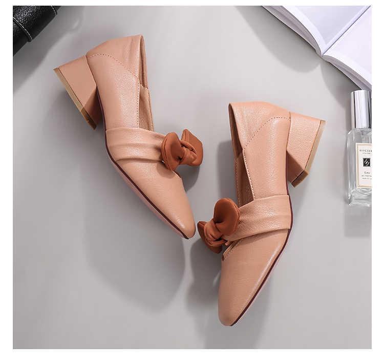 Retro Mary Jane giày Vuông mũi giày cao gót nữ, văn phòng nữ 4cm Tặng bơm Khối thấp gót có nơ Nude Đậm/Đen/Mơ