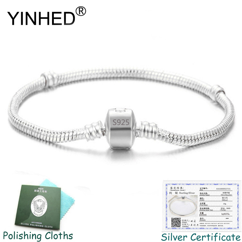 Send Silver Certificate! YINHED 100% 925 Silver Bracelet Bangle Fashion DIY Jewelry Snake Chain Charm Bracelet Women Gift ZB030