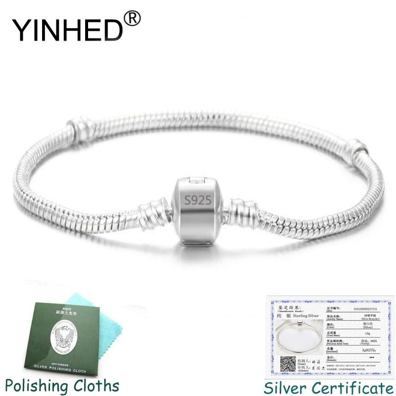 Send Silver Certificate! YINHED 100% 925 Silver Bracelet Bangle Fashion DIY Jewelry Snake Chain Charm Bracelet Women Gift ZB030