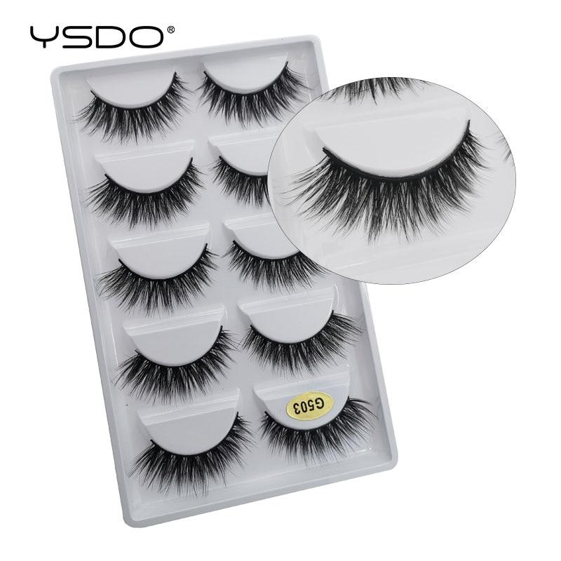 YDSO Winged 5 Pairs False EyeLashes Faux 3D Mink Natural Hair Fake EyeLashes Dramatic MakeupLashes Faux Cilios Fluffy Lashes