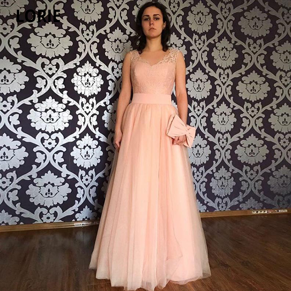 LORIE Blush Pink Tulle Evening Dresses V-neck Sleeveless Long Lace Formal Evening Party Dresses Elegant Prom Gown Zipper