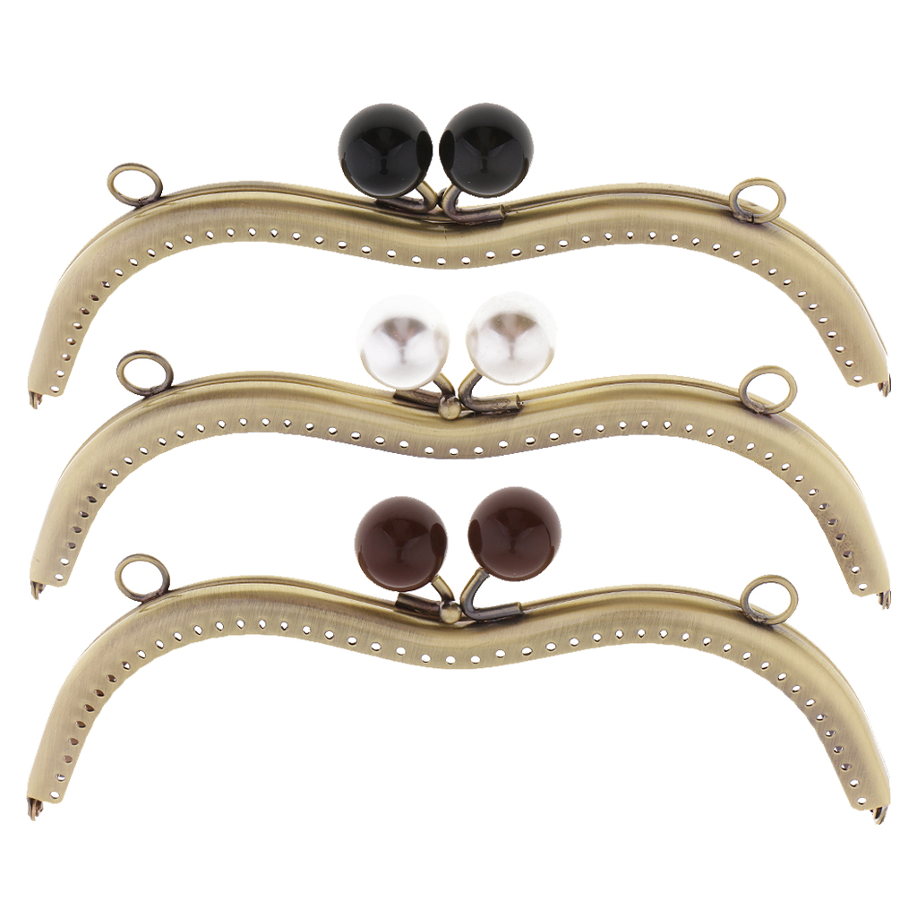 1PC Vintage Metal Frame For Purse Bag Sewing Bronze Tone With Pearl Ball Clasp Metal Kiss Clasp Lock Bag Accessories 19cm