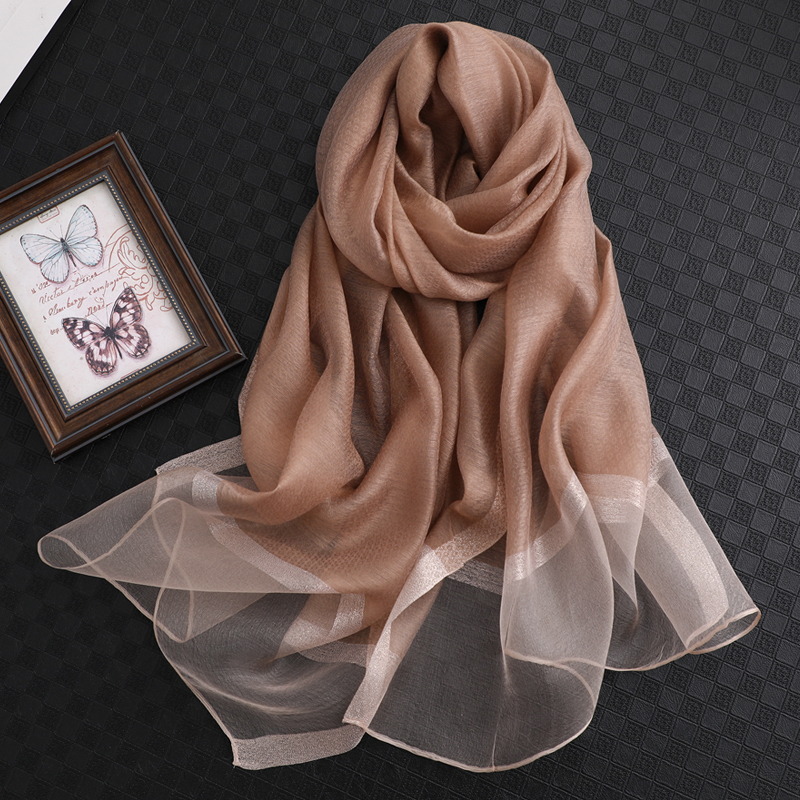 Image 3 - 100% Silk Scarf Womens Fashion Large Sunscreen Shawls Wraps Lightweight Striped Pattern Wool Wraps for WomanWomens Scarves   -