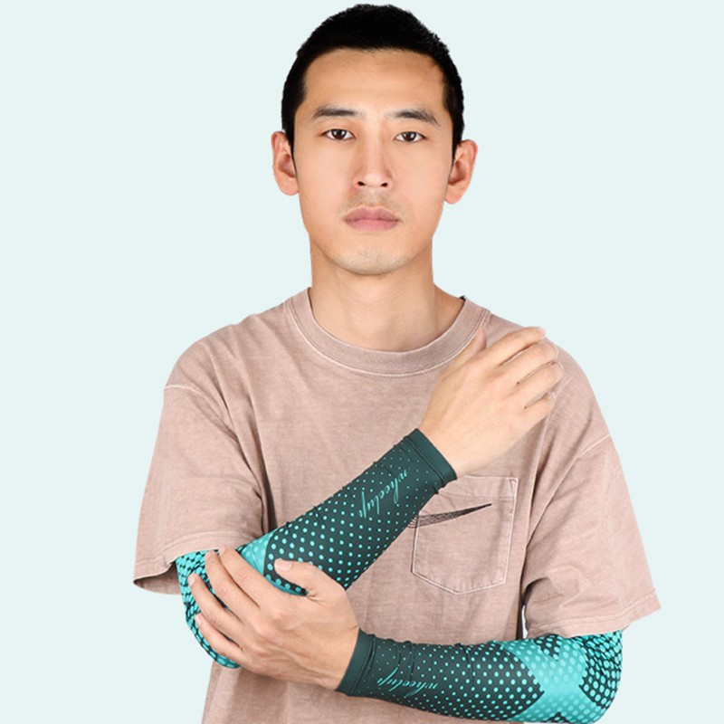 Ice Silk Cooling Arm Sleeves Men Cycling Running Arm Warmer UV Sun Protection Compression Sleeve Sport Golf Basketball Arm Cover