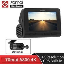 70mai çizgi kam 4 k A800 dahili GPS ADAS çift görüş 4 K UHD sinema kaliteli görüntü 24H park monitörü DVR kamera 70 Mai 4 k A800