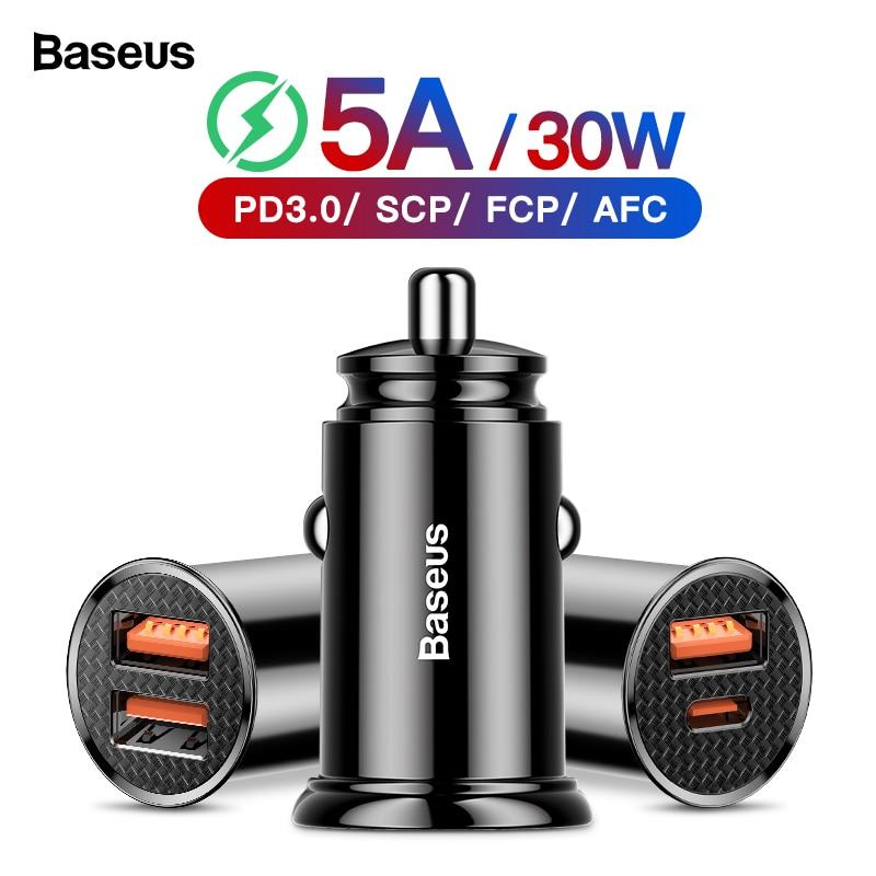Baseus Carga Rápida 4.0 3.0 Carregador de Carro USB QC4.0 QC 3.0 5A USB C PD Carro-Carregador Rápido Carregamento para Xiao mi mi 9 8 Huawei P30 Pro