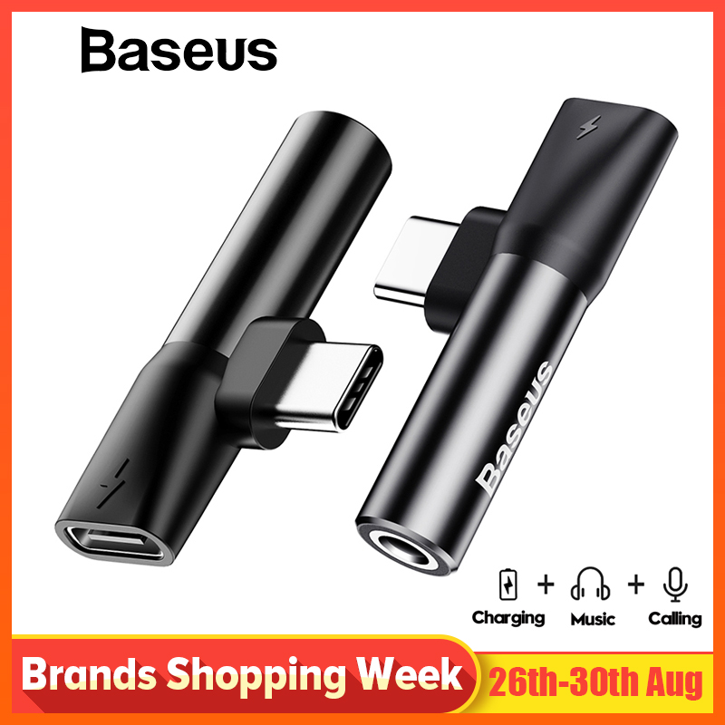 Baseus Usb C to 3.5mm Aux Jack Audio Cable For Xiaomi 9 Huawei P30 pro Oneplus 7 Audio splitter Adapter Type-C Charging Adapter