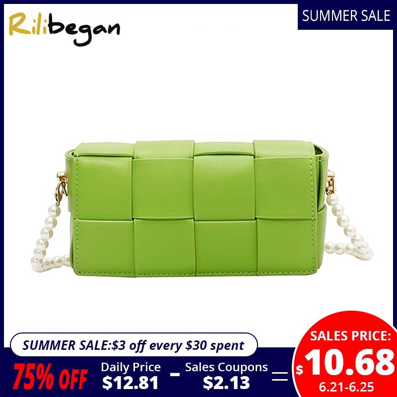 New Fashion Leather PU Women Crossbody Bag Cute Patchwork Knitting Style Shoulder Bag for Women Messenger Handle Handbag Women