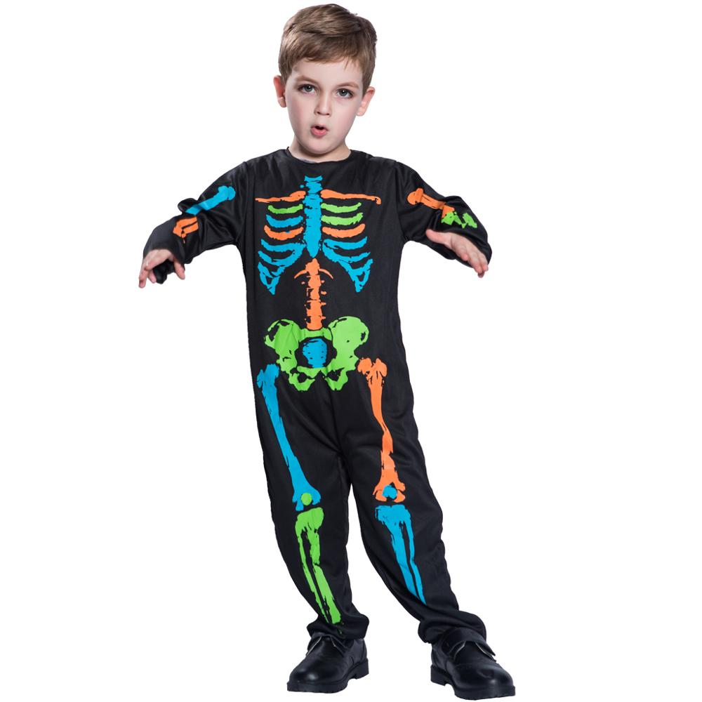 Children's Halloween Costumes Lovely Colorful All skeleton Jumpsuits Costume Ghost Party Dress Up 4 12 Year old Children