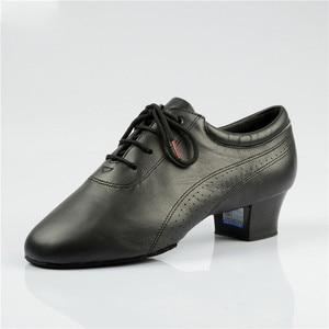 Image 4 - Hot Sale Men Latin Dance Shoes 424 Split Outsole Soft Leather Professional Dancesport  Shoe Elastic Heel Ballroom Dancing Shoe