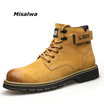 Misalwa Yellow Men Boots Spring Autumn Ankle Boots Mens Casual Work Desert Boots Suede Leather Lace Up Shoes High Top Vintage top brand unique design black suede boots back front lace up fastening dress boots trendy ladies footwear thin high heel shoes