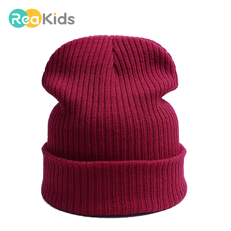 REAKIDS  Winrter Skullies Beanies Baby Hat Knitted Children Hats For Girls Boys Warm Cap  Solid Warm Cap For Kids Hat Beanies