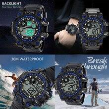 цена на Electronic movement Men's watch Analog Digital Military Sport New LED Waterproof Wrist Electronic sports watch Y10.28