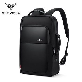 WilliamPolo Backpack Male Large Capacity Business Casual Multifunctional Travel Bag Computer Bag 15.6-inch Student Backpack 191