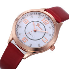 2020 Temperament Bracelet Watches Women Luxury Crystal Gold Alloy Dial Leather Band Dress Wristwatches Clock Quartz Watch Q3(China)