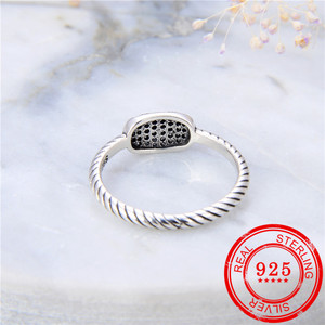Image 2 - 100% Sterling Silver 925 Ring Inlaid Zircon Retro Silver Open Ring Lady Wedding Gift Fashion Jewelry
