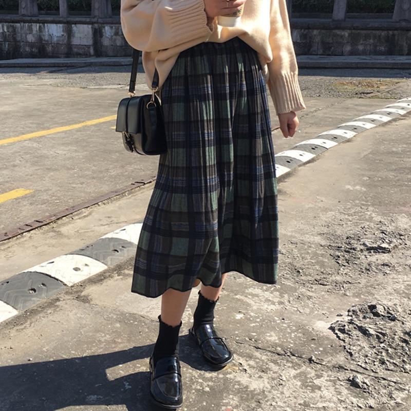 Vintage Plaid Pleated Long Skirts Women Punk Rock Korean Woolen Skirt Streetwear Drawstring Elastic Waist Midi Skirt Autumn