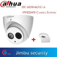 Dahua POE 6Mega Pixel IP camera IPC HDW4631C A H.265 6MP Della Cupola del CCTV Telecamera di Sicurezza Built in Mic ONVIF Mentale con brPFB204W caldo