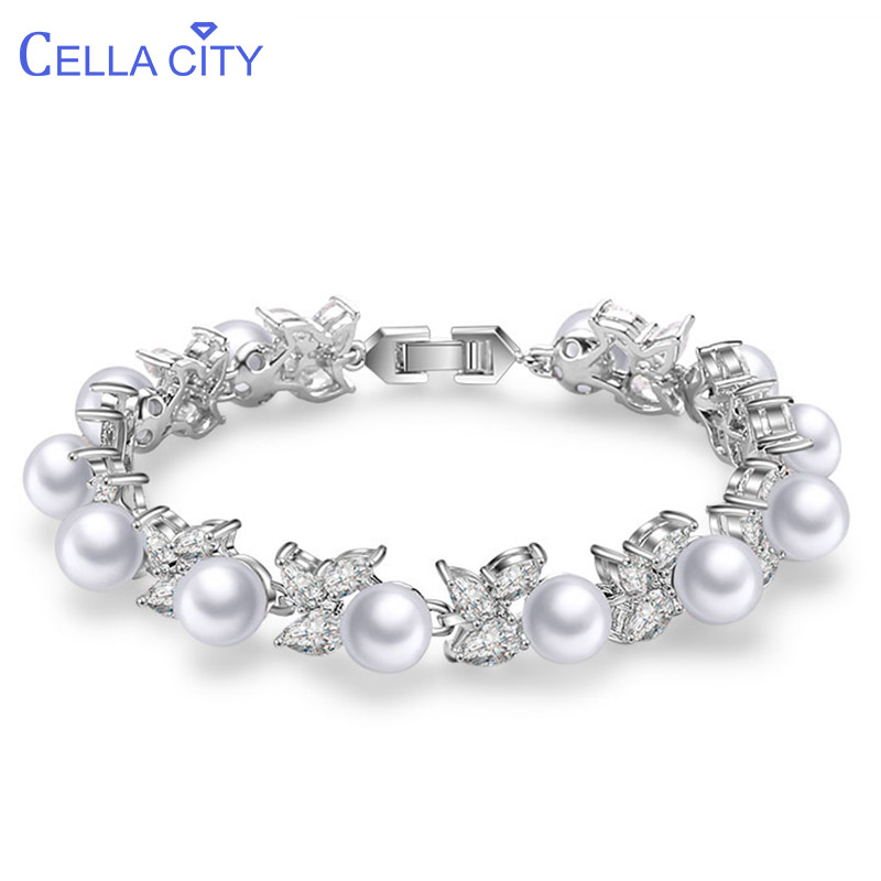 Cellacity Korean Style Chic Pearl Bracelet For Women Silver 925 Jewelry Water Drop Shaped Gemstones Female Creative Gift Party