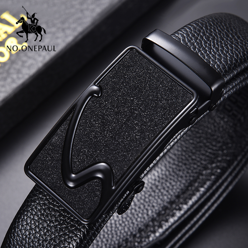 NO.ONEPAUL Retro Punk Alloy Automatic Buckle Men Belt Business Luxury Brand Belts For Men New  Leather Waist Belt Accessories