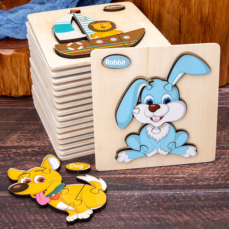 Wooden Three-dimensional Jigsaw Puzzles For Children's Early Childhood Education