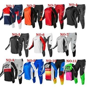 12 Colors Motocross Gear Set For NOIZ FOX 180 Moto MX Jersey And Pants Top Dirt Bike Downhill Jersey Set ATV Motorcycle Suit