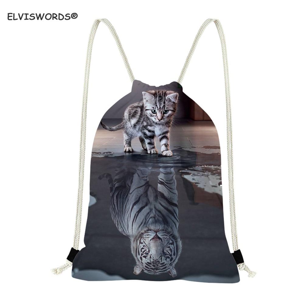 ELVISWORDS 3D Cat Reflection Tiger Drawstring Bag Book Bag For Teenager Girl Kid Gymbag School Bag For Boys Custom Logo Gift Bag