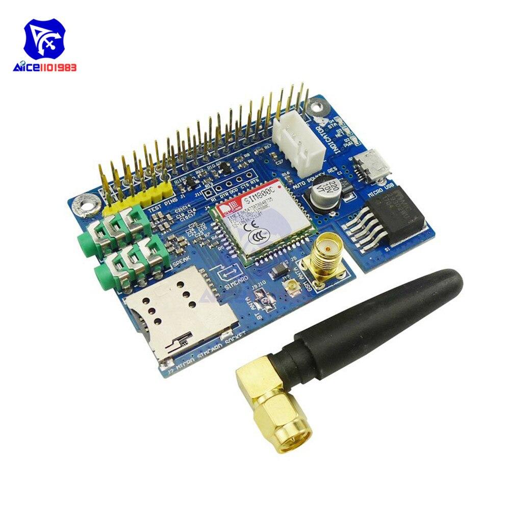 Diymore sim800c gsm gprs módulo quad-band placa de desenvolvimento com antena sma micro sim slot para arduino raspberry pi