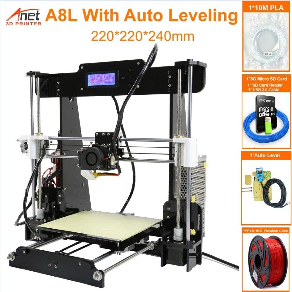 Anet auto a6 a8 impressora 3d alta velocidade de impressão reprap prusa i3 alta precisão brinquedos diy kit impressora 3d com filamento de alumínio hotbed