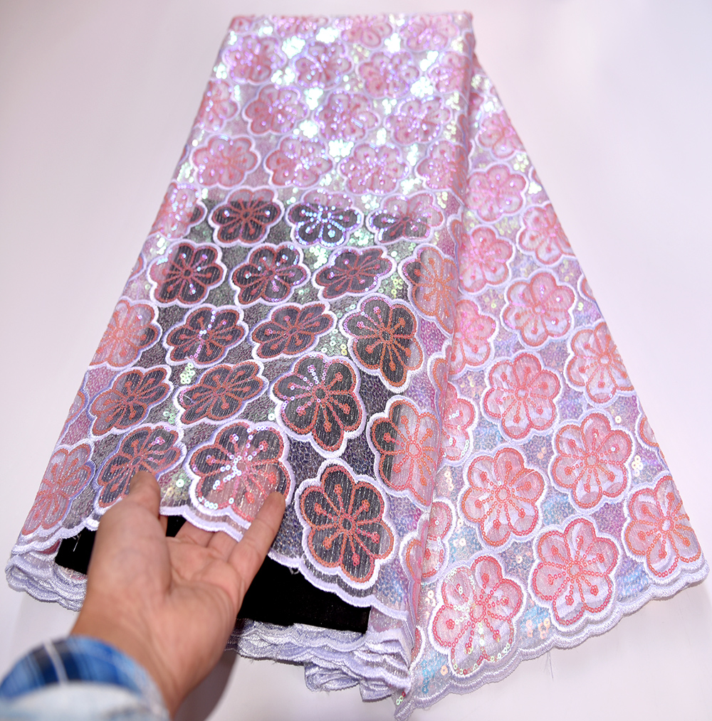 Latest Nigerian Lace Fabrics Sequins 2020 High Quality French Tulle Lace Pink African Lace Fabric For Wedding Dress