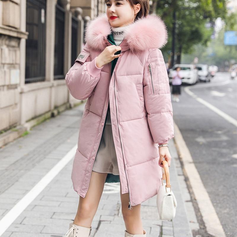 Vogue Hooded Thicken Down Coats Women Winter Casual Long Plus Size Down Jacket Female Streetwear Korean 2019 Vintage Parkas Coat