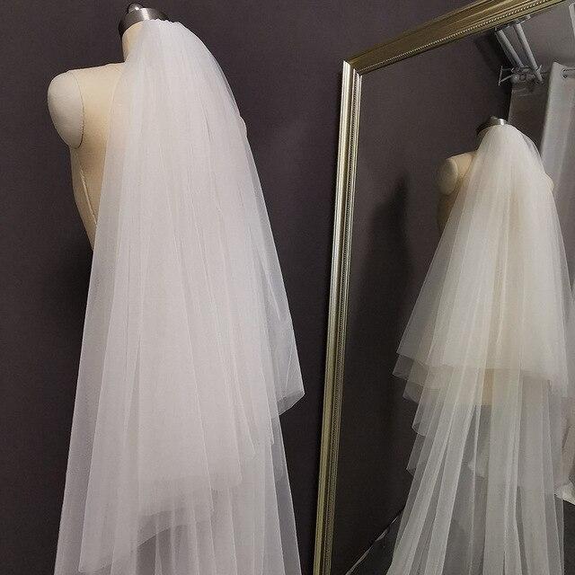 Fotos reais 2 camadas longo véu de casamento 4 m laço véu nupcial com blusher 2 t branco marfim alta qualidade véu para a noiva 5