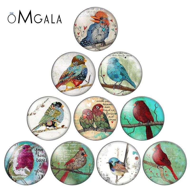 OMGALA 12mm/14mm/16mm/18mm/20mm/25mm Cartoon Animal Vintage Bird Round Photo Glass Cabochon Demo Flat Back Making Findings