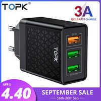 Chargeur rapide 3.0 USB TOPK B348Q chargeur rapide QC3.0 chargeur Multi pour Samsung S10 Xiaomi Mi9 chargeur de téléphone mural de voyage